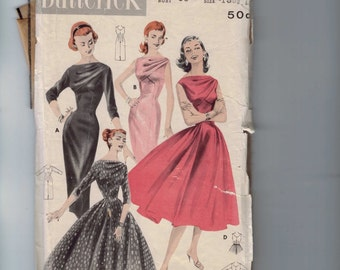 1960s Vintage Sewing Pattern Butterick 8038 Junior Misses Cross Front Dress Sheath Full Skirt Size 15 Bust 35 60s INCOMPLETE