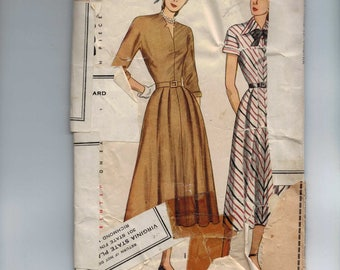 1950s Vintage Sewing Pattern Simplicity 2360 Misses One Piece Dress Size 16 Bust 34 50s