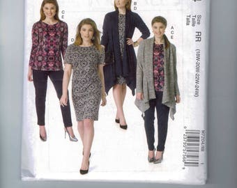 Womens Sewing Pattern McCalls M7204 7204 Jacket Sweater Dress Top Pants Cardigan  Plus Size 18W 20W 22W 24W Bust 40 42 44 46 UNCUT
