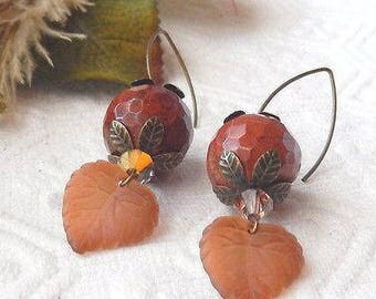 Sale......One of a Kind Agate, Swarovski Crystal, and Vintage Lucite Earrings