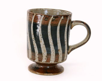 Footed Stoneware Pottery Mug with Navy Blue & Brown Glaze with Wavy Stripes