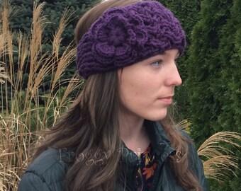 Purple Ear Warmer Handmade Flower Headband Adjustable Gift for Her TeensLadies Women Teacher Warm Winter Wear Crochet Gift