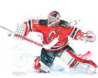 Watercolor portrait painting of New Jersey Devils Hockey  player Martin Brodeur 2d in a series- giclee from original