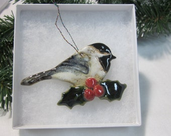 CHICKADEE Pottery Hanging Ornament With Gift Box