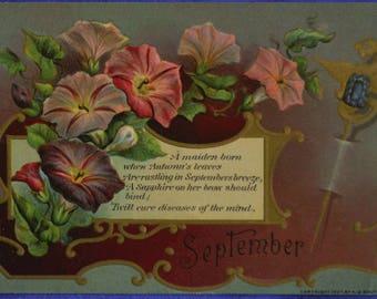 Postcard September Birthday Poem Signed Adelaide Early 1900s Embossed