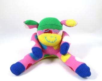 New* Mini Sock Monkey HILARY : pink, yellow, green, blue polka dot, spot, handmade plush sock toy softie. Newborn safe.
