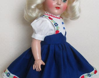 "For P-91 16"" Ideal Toni Doll - Tyrolean Dress in Blue, Inspired by Original"