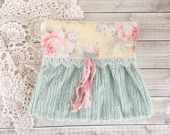 Shabby Tattered Roses and Lace Vintage Chenille Clutch Zipper Pouch