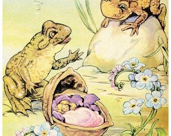 Vintage 1950's  Thumbelina  Child's Story Book Illustration, Print for Framing, Vintage Fairy Tale Print, Child's Room Decor