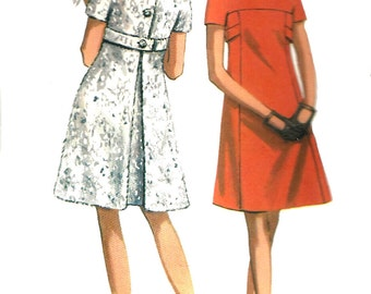 1960s Dress Pattern Yoked A Line Butterick Princess Seams Vintage Sewing Women's Misses Size 8 Bust 31. 5 Inches