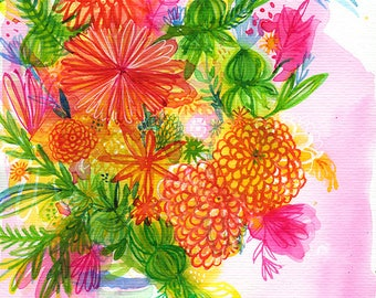 Blue Striped Vase Wall Art Print Illustration
