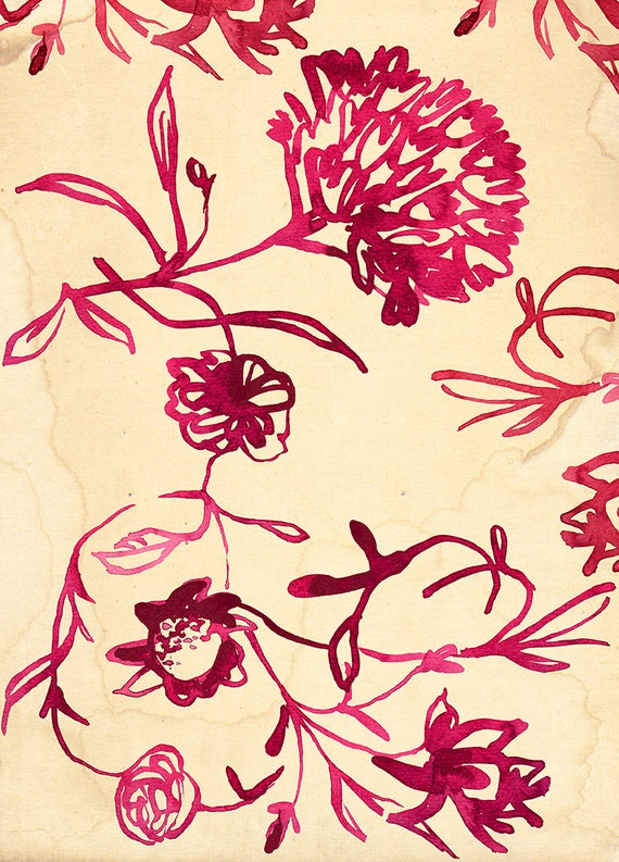 Pink Ink Floral Pattern Art Print