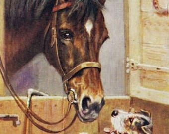 Horse & Pup Ready To Start Reproduction Fabric Crazy Quilt Block Free Shipping World Wide
