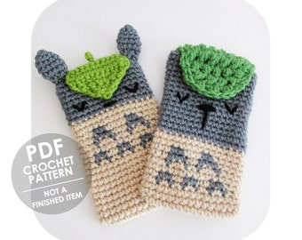 crochet pattern - totoro cell phone case sleeve cozy - kawaii anime - studio ghibli - crochet phone sleeve cozy - iphone galaxy