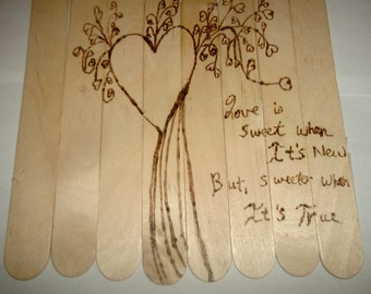 Rustic Wedding Anniversary Engagement Gift Wood Burned Love is Sweet Popsicle Art with Love Quote Can Be Engraved with Names and Dates