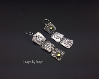 Outrageous peridot and Sterling silver earrings, designed by Suzyn, unique earrings