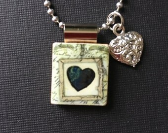 Black Heart Valentine Jewelry, handmade valentine gift, handmade jewelry, black heart pendant, recycled scrabble tile jewelry, heart charm