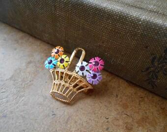 colorful enamel and rhinestone flower basket bouquet brooch bouquet