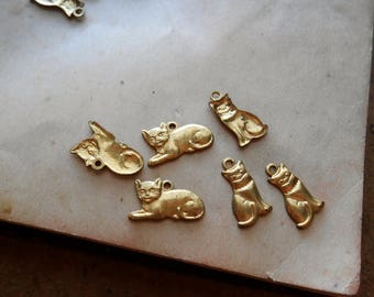 vintage cat charms - gold toned vintage metal charms - old new stock jewelry supplies