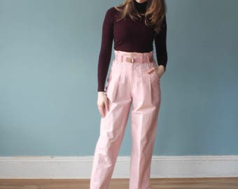 high waist pink pants | high waisted pink trousers | 1980s small