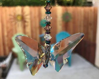 "12"" Long Flutter by Butterfly Swarovski Crystal Suncatcher, Rainbow Sun Catcher, Home Decor Hanging Window Butterfly Charm Suncatcher"