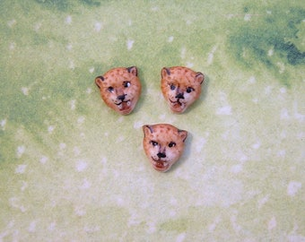 Tiny Cheetah Head Embellishment set of 3