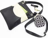 Black and White Vegan Leather Cross Body Bag
