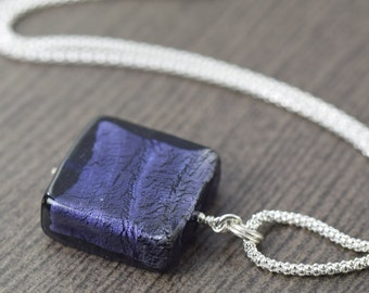 Purple glass necklace murano glass necklace venetian glass necklace featured on sterling silver chain gifts for her