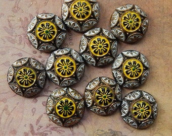Vintage Glass Cabochons - 18 mm Round Black Yellow and White Geometric Deco Floral Design - West German Glass Cabs (2 pc)