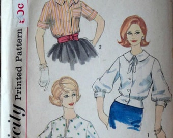 Vintage 60's Simplicity 3275 Sewing Pattern, Misses' Blouse and Overblouse, Size 14, 34 Bust, 1960's Fashion