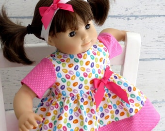 Pink Easter Dress and Matching Headband with Bow, 15 inch Doll Clothes, Baby Doll Dress