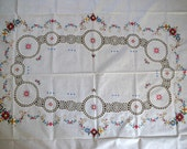 """Cross Stitch Tablecloth Rectangular 66"""" x 52"""" Beige Cotton Hand Stitching Wedding Linens Holiday Tablecloth Thanksgiving Tablecloth"""