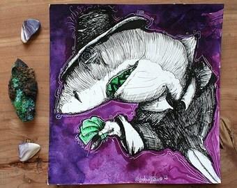 "Inktober 06 - Shark Art - Loan Shark - Original Artwork - ""Take the Bait"" by Far Out Arts"