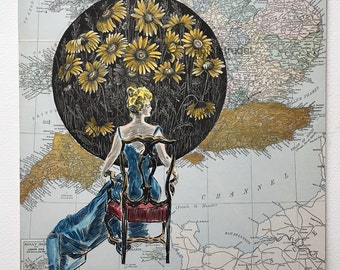 Art Collage Using Vintage 1904 Dana Gibson Girl Engraving, 1880s England Map, Handcolored Collage, Watercolor