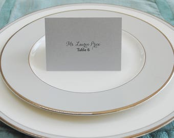 Silver Wedding Place Cards | Escort Cards | Romantic Place Card | Jessica & Jeffrey