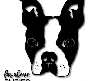 Boston Terrier Breed Pet Dog Puppy Canine Cut File - SVG, DXF, png, jpg digital cut file for Silhouette or Cricut