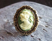 Irish cameo ring, green cameo ring, antique brass ring, Jane Austen jewelry, cameo jewelry, holiday gift ideas, gift ideas for mom
