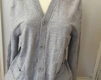 Vintage Fossil Cashmere Cotton Lightweight Boyfriend Sweater Cardigan Gray Grey Size Small S Cotton Cashmere Cardigan Boyfriend Sweater