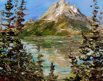 JENNY LAKE Grand Tetons Framed Original Oil Painting Art National Park Mountain Jackson Wyoming Scenic Pine Tree Canoe Sail Vacation Boating