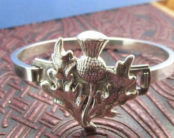 Scottish Thistle bangle bracelet silver Scottish Thistle Gorgeous vintage look