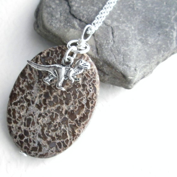 Dinosaur Bone Jewelry, Fossil Necklace, Brown Stone Pendant