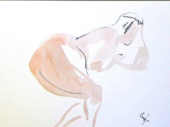 Nude painting of One minute pose 104.2 - Original nude painting by Gretchen Kelly