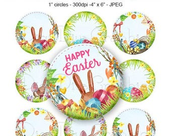 SALE -Editable Watercolor Easter Bottle Cap Collage Bunny Egg Digital Set 1 Inch Circle 4x6 - Instant Download - BC1167