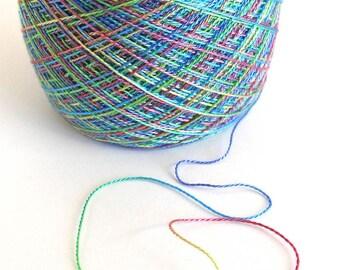 Hand Dyed Tencel Yarn Tencel Lace Yarn Lace Weight Yarn 768 yards - Rainbow Reflection