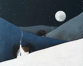 Archival 8x8 Print - Winter Night Landscape Painting - Modern Nursery Art - Moon Rise by Natasha Newton