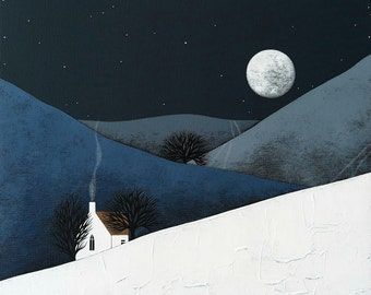 PRE-ORDER - Moon Rise - Archival 8x8 Print - Winter Night Landscape Painting - Modern Nursery Art - by Natasha Newton