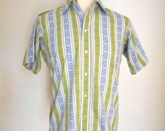 vintage CAMPUS Blue & Green Short Sleeve Shirt Men's Size Medium 15 15 1/2