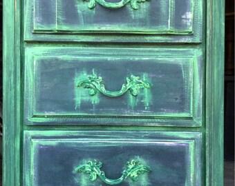 SOLD Vintage Lingerie Chest - Painted Dresser -  Painted Dresser - Shabby Chic Dresser - Bohemian Dresser - Vintage Lingerie Dresser