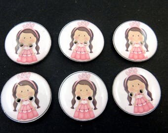 "6 Princess Buttons. Brunette Princess Buttons.  Sewing Buttons for Girls. 3/4"" or 20 mm round."