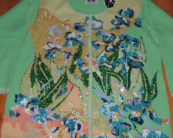 "Storybook Knit ""IRIS"" Monet Artist Inspired Series With Tags Sz L"